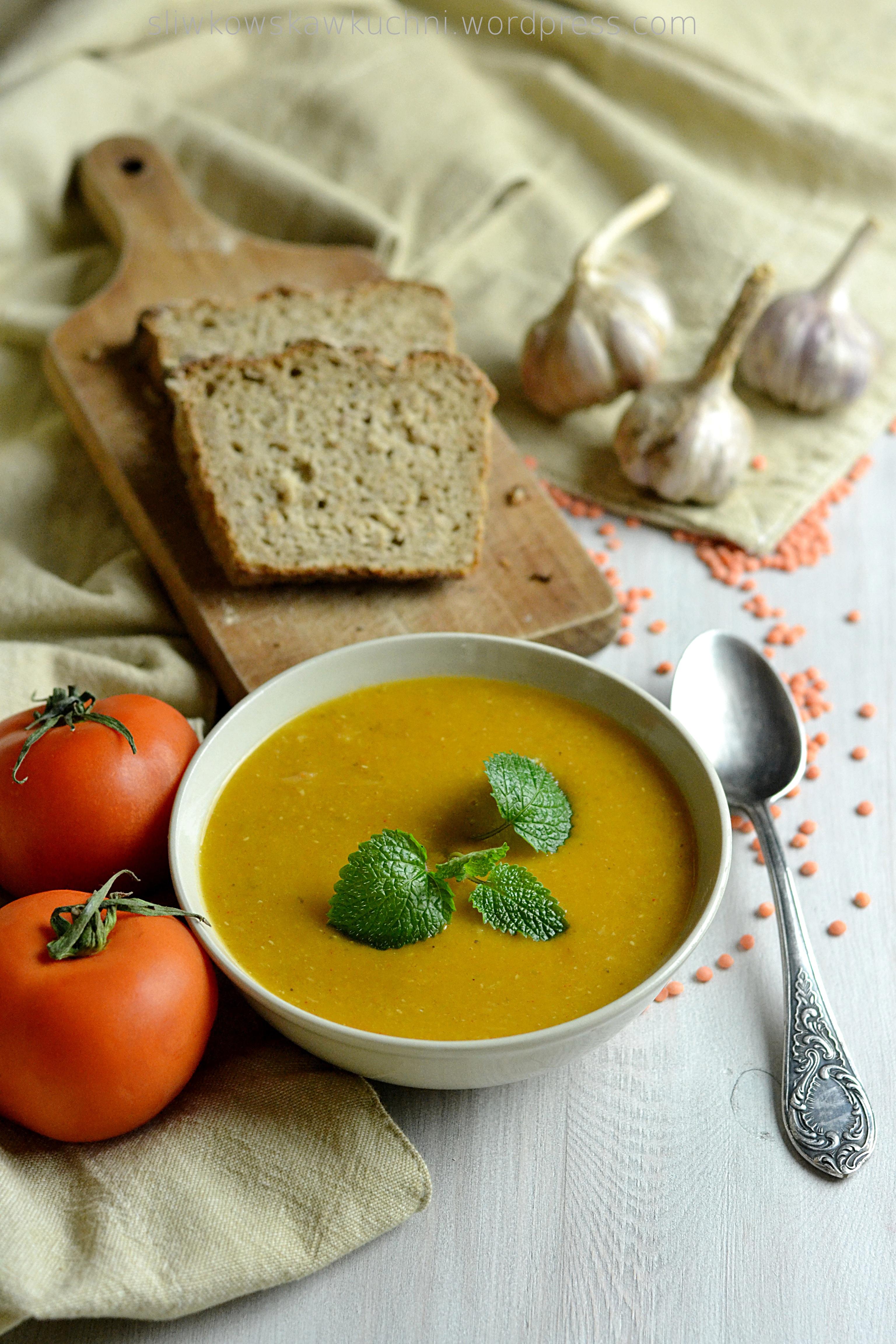 Zupa krem z soczewicy i pieczonych warzyw